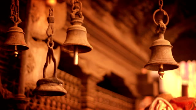 Ancient Bells on a temple in Kathmandu, Nepal video