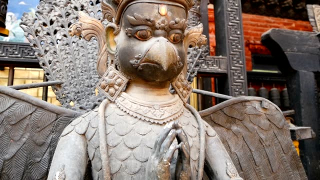 Ancient bronze and brass mythological sculptures and artifacts, Rudra Varna Mahavihar, unique golden buddhist temple in Lalitpur, Patan. World heritage site. Tibetan buddhism. Durbar Square, Nepal.