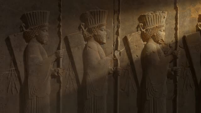 ancient carvings of persepolis in shiraz city, iran. - archeologia video stock e b–roll