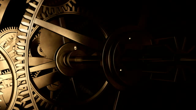 Ancient clock Mechanical clock. 3D animation.__________ instrument of time stock videos & royalty-free footage