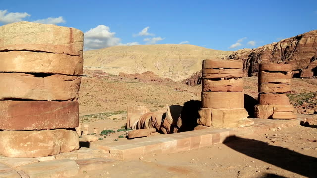 Ancient columns of Great Temple or Temple of Winged Lions in Petra, Jordan video