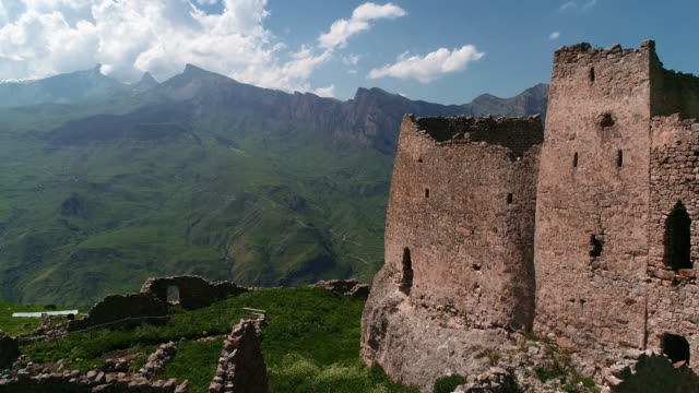Ancient fortress and tower in the mountains of North Ossetia. Alania, Northern Caucasus