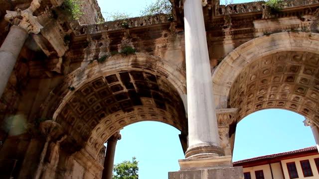 Ancient gate of Roman emperor Adrian at Antalya city center, Turkey video