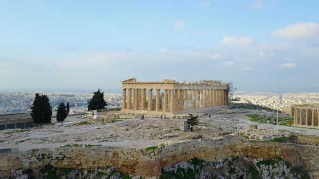 Ancient Greek Ruins Aerial View of Acropolis of Athens Tracking Left video