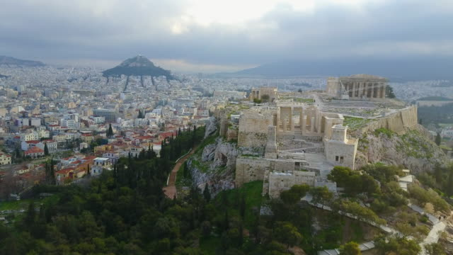 Ancient Greek Ruins Aerial View of Acropolis of Athens Wide video