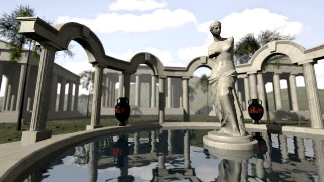 starożytnej greckiej świątyni i wenus z milo - venus filmów i materiałów b-roll