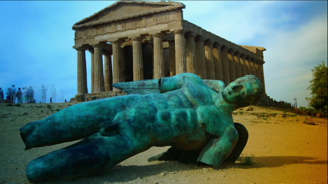 Ancient Greek Temple on Valley of the Temples, Agrigento, Sicily. time lapse video