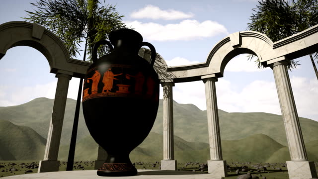 Ancient greek temple with an old vase video