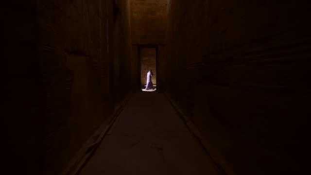 ancient hieroglyphics of edfu temple in edfu, egypt - archeologia video stock e b–roll