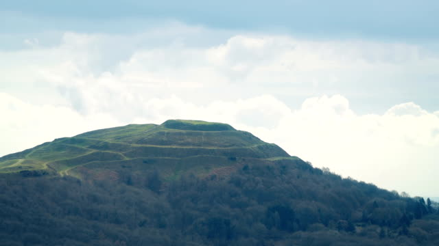 Ancient Hill Fort Remains With Clouds Passing Behind video