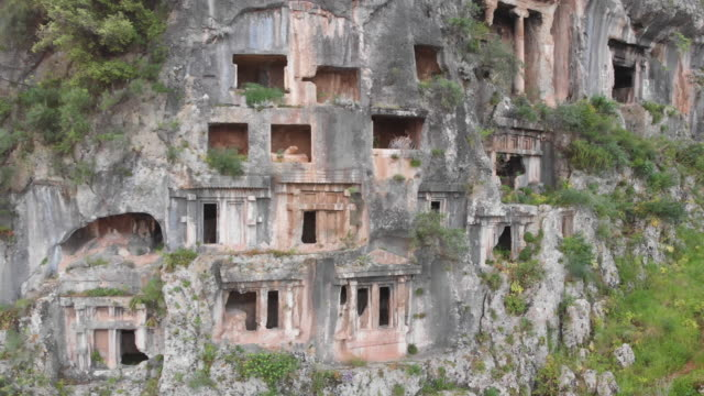 ancient lycian rock tombs of fethiye, mugla, turke - fethiye video stock e b–roll