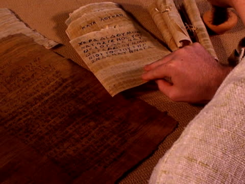 Ancient manuscript checked by scribe video