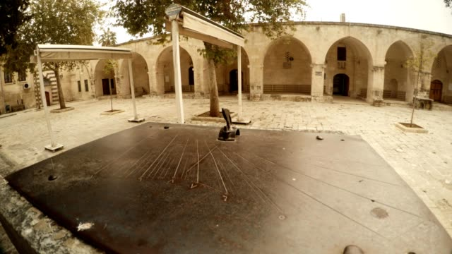 Ancient Metal Sundial in Yard of Old Mosque Urfa Antique Town of Prophets video