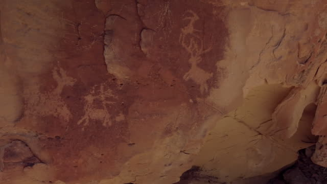 Ancient Native American Drawings Desert Hike In Early Spring 4K Video Rock Face Petroglyphs