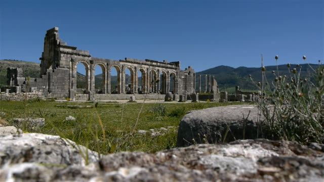 Ancient roman archaelogical site Volubilis in Morocco video