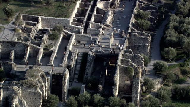 Ancient Roman Ruins On Sirmione  - Aerial View - Lombardy, Provincia di Brescia, Sirmione, Italy