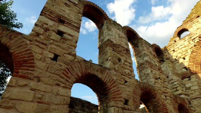 Ancient ruins of Church of Christ Pantocrator, Nessebar, Bulgaria video