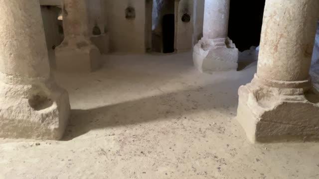 Ancient ruins of Kolonlu church of Rose Valley in Cappadocia