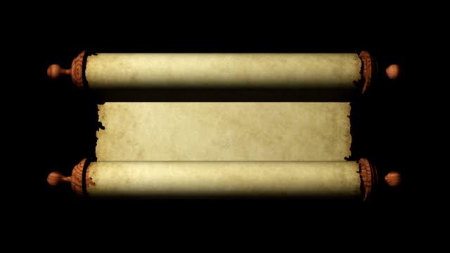 alten blättern rolling geöffnet - schriftrolle stock-videos und b-roll-filmmaterial