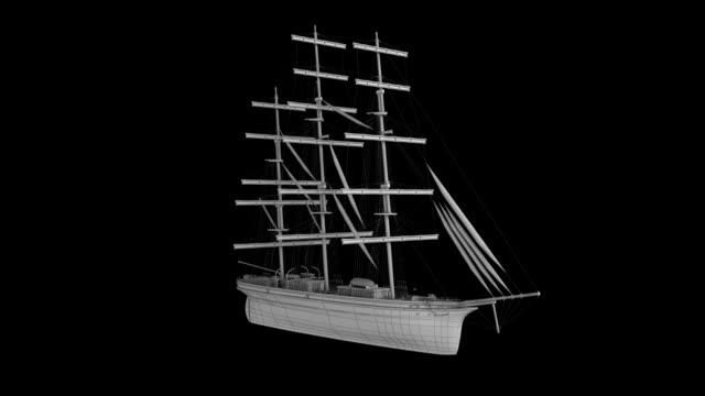 Ancient ship Wire Frame rotating loop isolated with luma matte video
