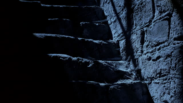 Ancient stairs at night. video