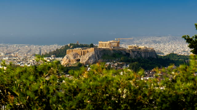 Ancient temple Parthenon standing on the mountain Acropolis in the center of the Greek capital. video