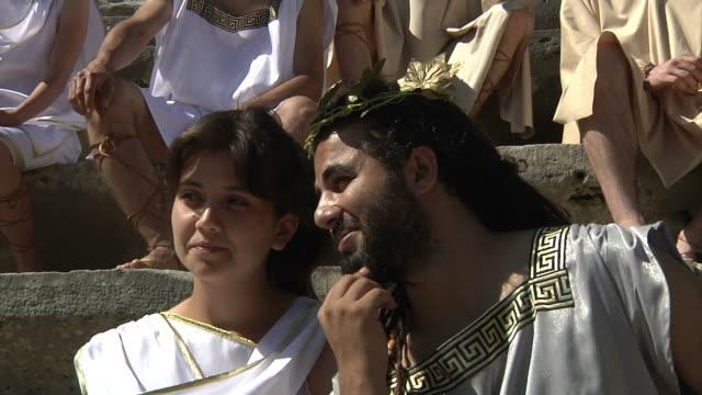 antico teatro - stile classico romano video stock e b–roll
