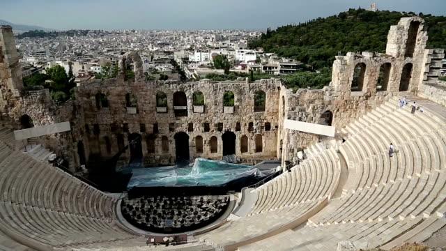 Ancient theatre near Parthenon temple, Athenian Acropolis, Greece video