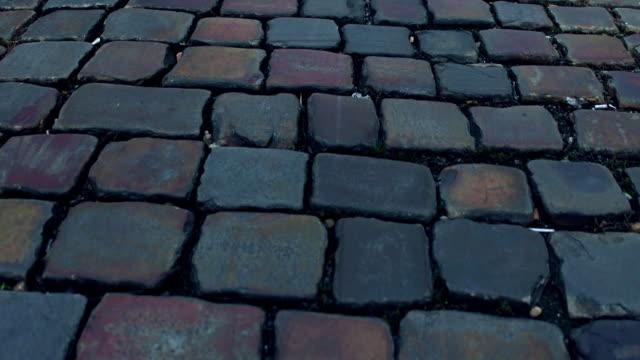 Ancient urban pavement close-up FullHD steadicam video video