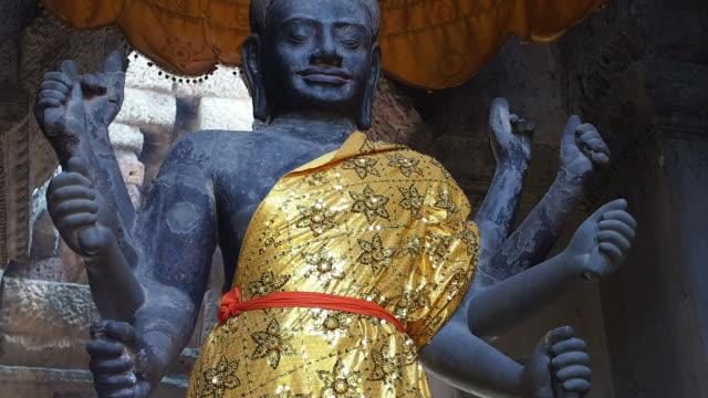 Ancient Vishnu Statue at Angkor Wat Temple, Siem Reap, Cambodia video