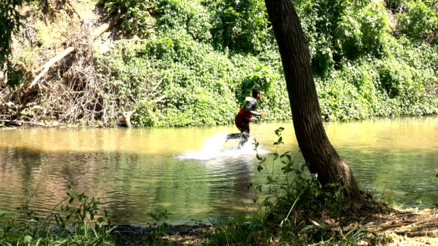 Ancient Warrior Running Away From Cowboy Hunting In The River