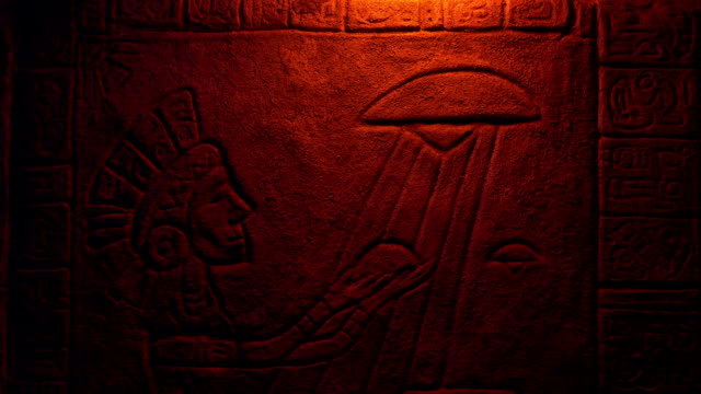 UFO And Aztec Priest Offering Rock Carving In Firelight