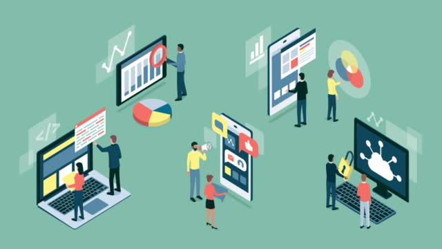 informations- und kommunikationstechnologien infografik - mobile app stock-videos und b-roll-filmmaterial
