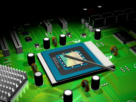 CPU and Computer Board 3D Animation (NTSC,PAL) video