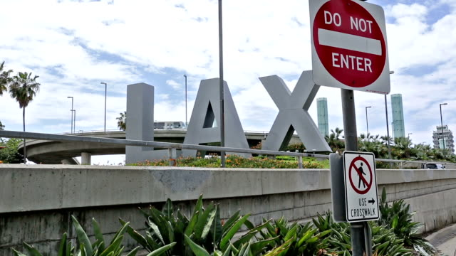 LAX and Do Not Enter Sign Airport Los Angeles, California video
