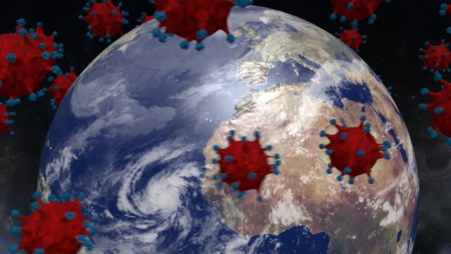 coronavirus / covid-19 and planet earth animation - new normal video stock e b–roll