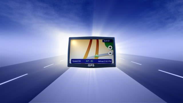 stockvideo's en b-roll-footage met gps and road animated background - roadmap
