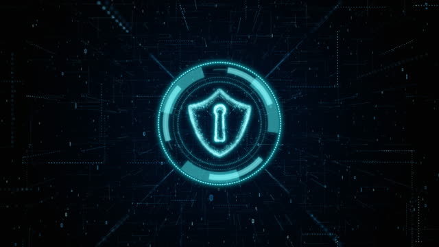 hud and shield icon of cyber security, digital data network protection, future technology network concept. - serratura video stock e b–roll