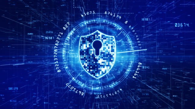 HUD and Shield Icon of Cyber Security. Digital Data Network Protection. High-speed connection data analysis. Technology data binary code network conveying. Future technology background concept. HUD and Shield Icon of Cyber Security. Digital Data Network Protection. High-speed connection data analysis. Technology data binary code network conveying. Future technology background concept. antivirus software stock videos & royalty-free footage