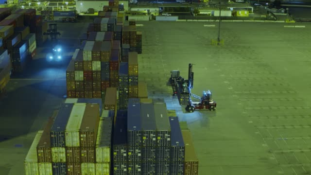 UTR and Top Handler Arranging Containers in Shipping Yard video