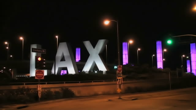 LAX and traffic by night, time lapse video
