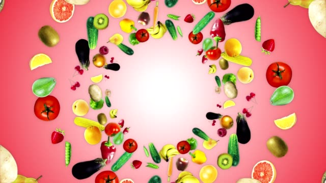 fruits and vegetables ring background, loop, with alpha channel - vegan stock videos and b-roll footage