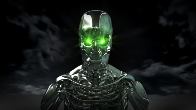 Android Human Cyborg with Green Eyes video