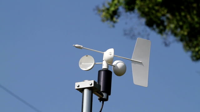 Anemometer and Devices meteorological station on the blue sky background video