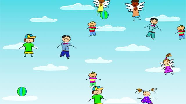 Angel kids flying in sky
