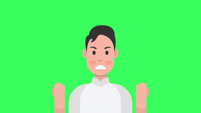 怒り。邪悪な男は否定的な感情を表現する。アルファチャンネル - 拳 イラスト点の映像素材/bロール