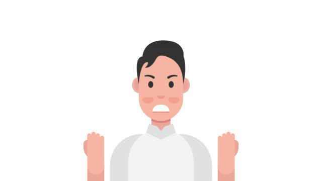 怒り。邪悪な男は彼の否定的な感情を表現する - 拳 イラスト点の映像素材/bロール