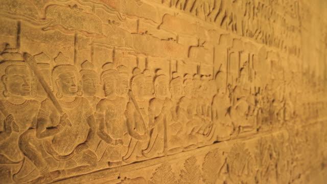 Angkor Wat Temple Corridor Wall Artwork in Bas Relief, Cambodia