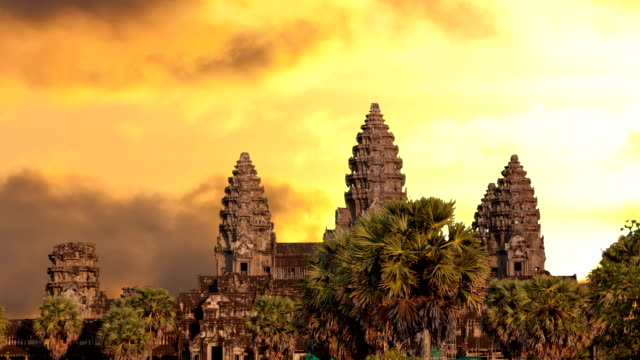 Angkor Wat temple silhouette with sunset sky and clouds video