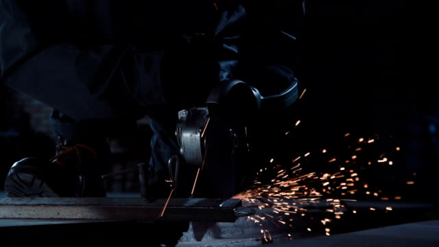 Angle grinder and sparks closeup video